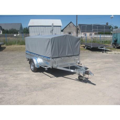 250 BA1F : Remorque robuste avec essieu750 kg freiné dimensions int. 250 x 130 x 50