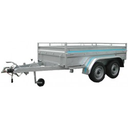 250 BA2F : Remorque robuste avec 2 essieux 750kg freinés dimensions int. 250 x 130 x 50
