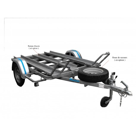 500PM2 : Châssis porte moto 2rails  2m x 1m30